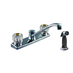 Chrome Plated Two Handle Kitchen Faucet with Spray
