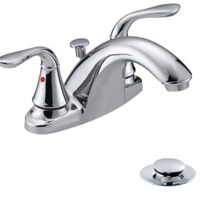Chrome Plated Two Handle Bathroom Faucet with Pop-Up