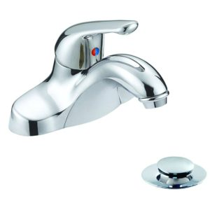Chrome Plated Single Handle Bathroom Faucet with Pop-Up