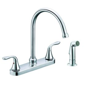 Chrome Plated Two Handle Gooseneck Kitchen Faucet with Spray