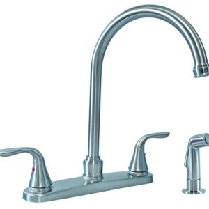 Satin Nickel Two Handle Gooseneck Kitchen Faucet with Spray