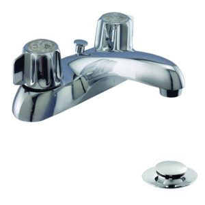 Chrome Plated Two Handle Bathroom Faucet, Heavy Pattern with Brass Pop-Up