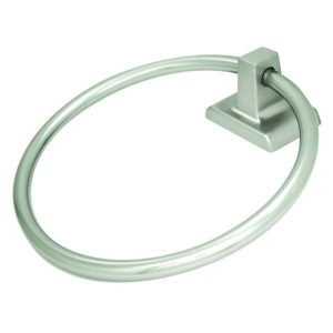 Satin Nickel Towel Ring, Square Style with Concealed Screw