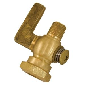 "1/4"" x 1/4"" Satin Brass Air Cock Female x Male, Lever Handle, Hex Shoulder"