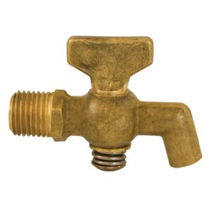 "1/4"" x SPIGOT Satin Brass Air Cock Male x Spigot, Tee Handle, Hex Shoulder"