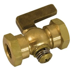 "1/4"" x 1/4"" Satin Brass Air Cock Female x Female, Tee Handle, Hex Shoulder"