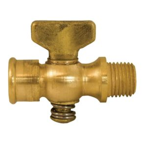 """1/4"""" x 1/4"""" Satin Brass Air Cock Female x Female, Lever Handle, Hex Shooulder"""