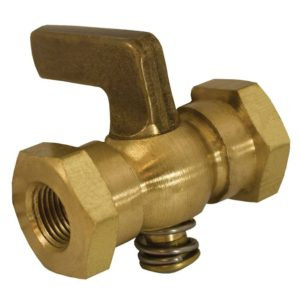 "1/8"" x 1/8"" Satin Brass Air Cock Female x Female, Lever Handle, Hex Shoulder"