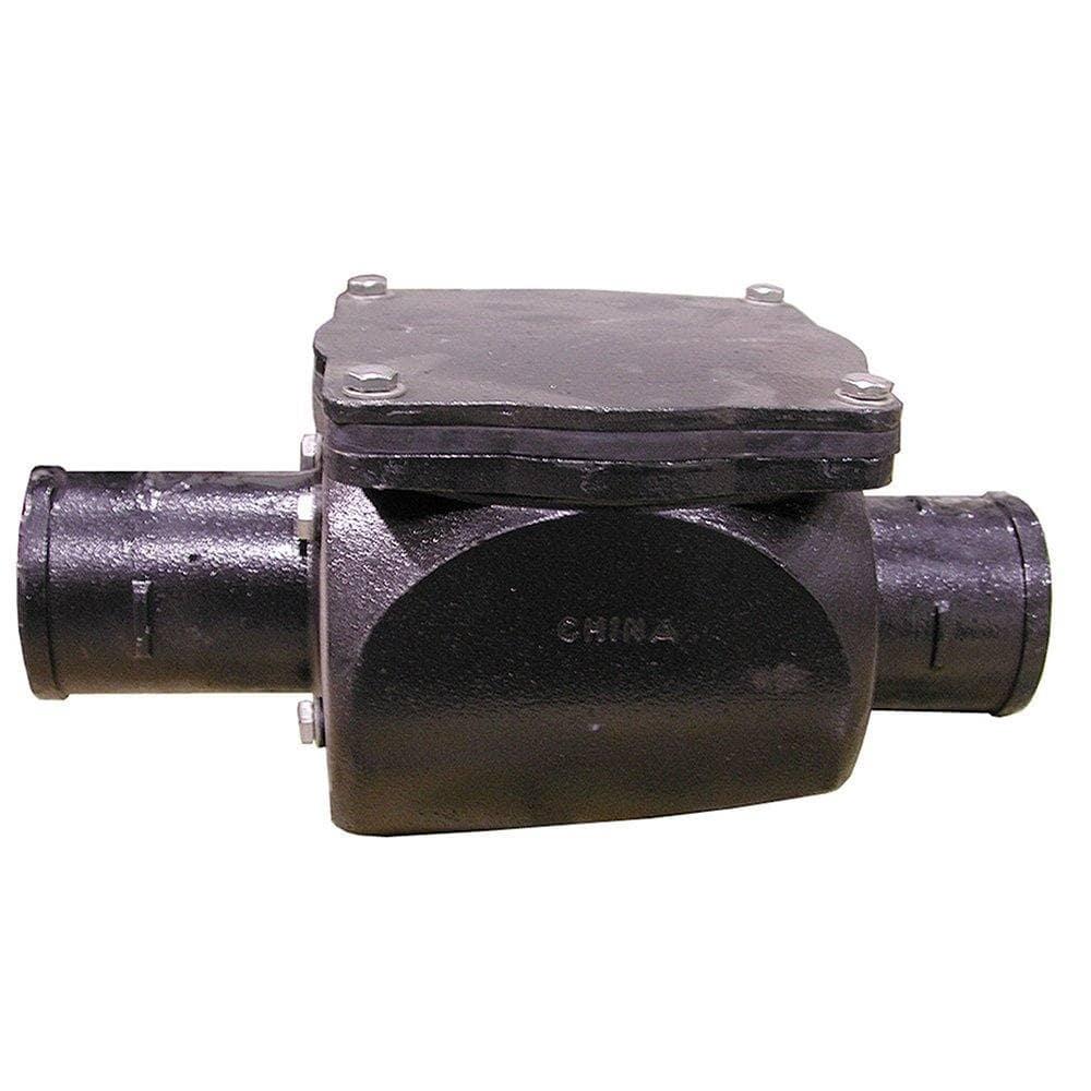 "6"" No Hub Cast Iron Backwater Vavle - 14-1/2"" Length"