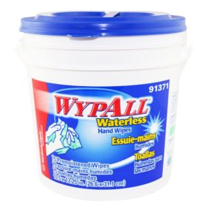 "Wypall Waterless Hand Wipes, 12"" x 12"" x 75 sheets, 6 Tubs per Carton"