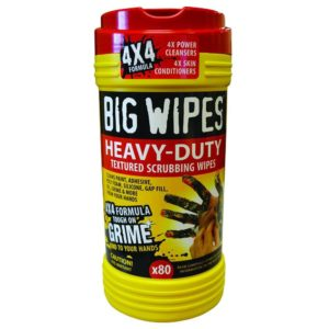 Heavy Duty Big Wipes, 80 Count Dispenser Tub, 8 Tubs per Carton