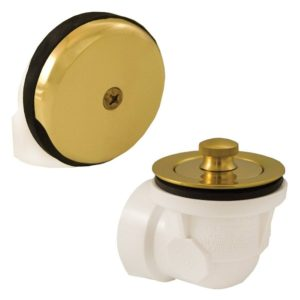 Schedule 40 PVC One-Hole Polished Brass Lift and Turn, Standard Half Kit - No Pipe, Tee or Elbow Included