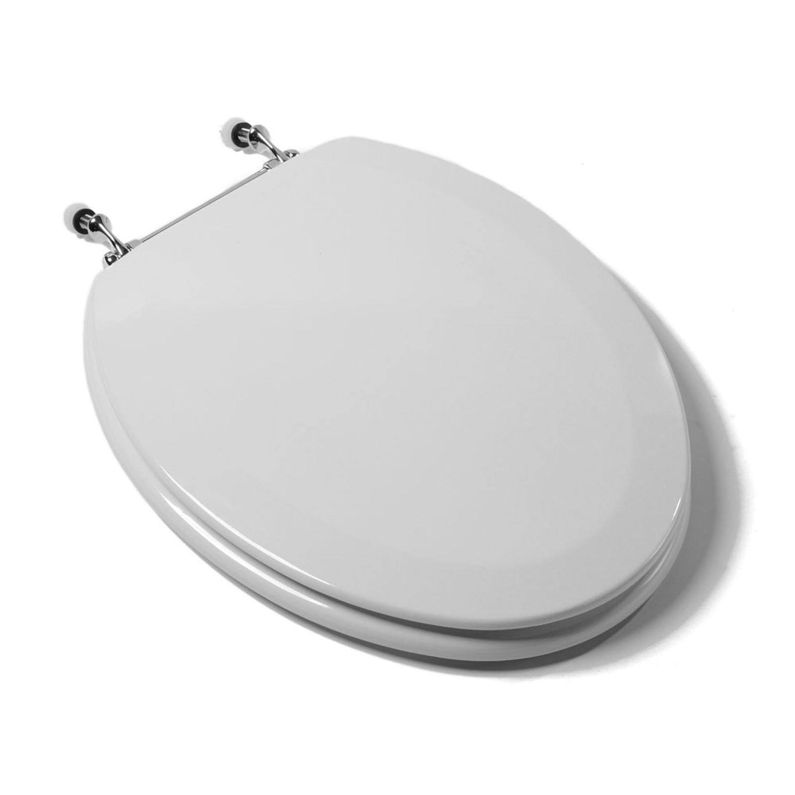 Awe Inspiring Deluxe Molded Wood Toilet Seat White Chrome Hinge Elongated Closed Front With Cover Machost Co Dining Chair Design Ideas Machostcouk