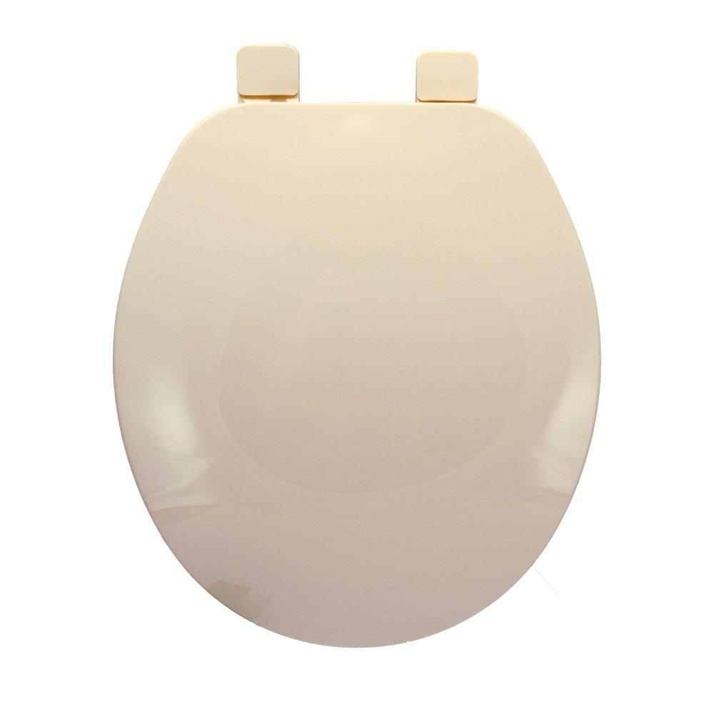 Builder Grade Plastic Toilet Seat, Bone, Round Closed Front with Cover