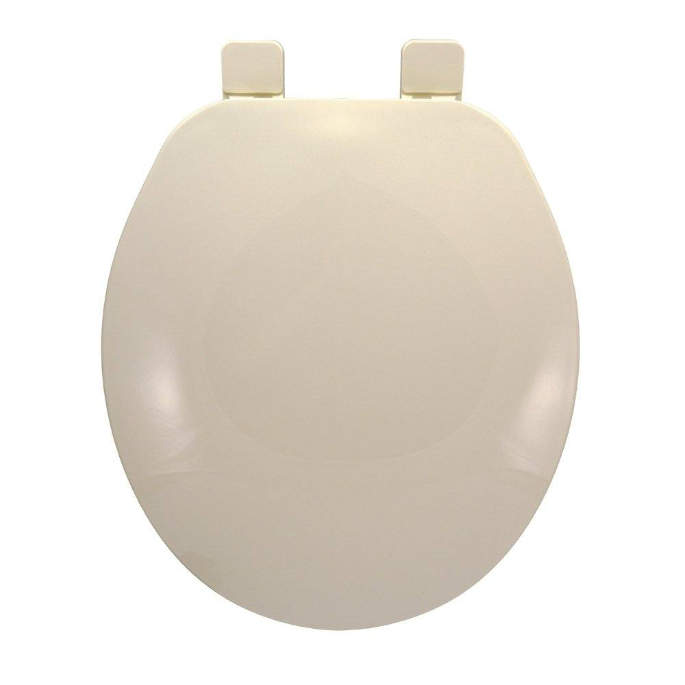 Builder Grade Plastic Toilet Seat, Biscuit, Round Closed Front with Cover