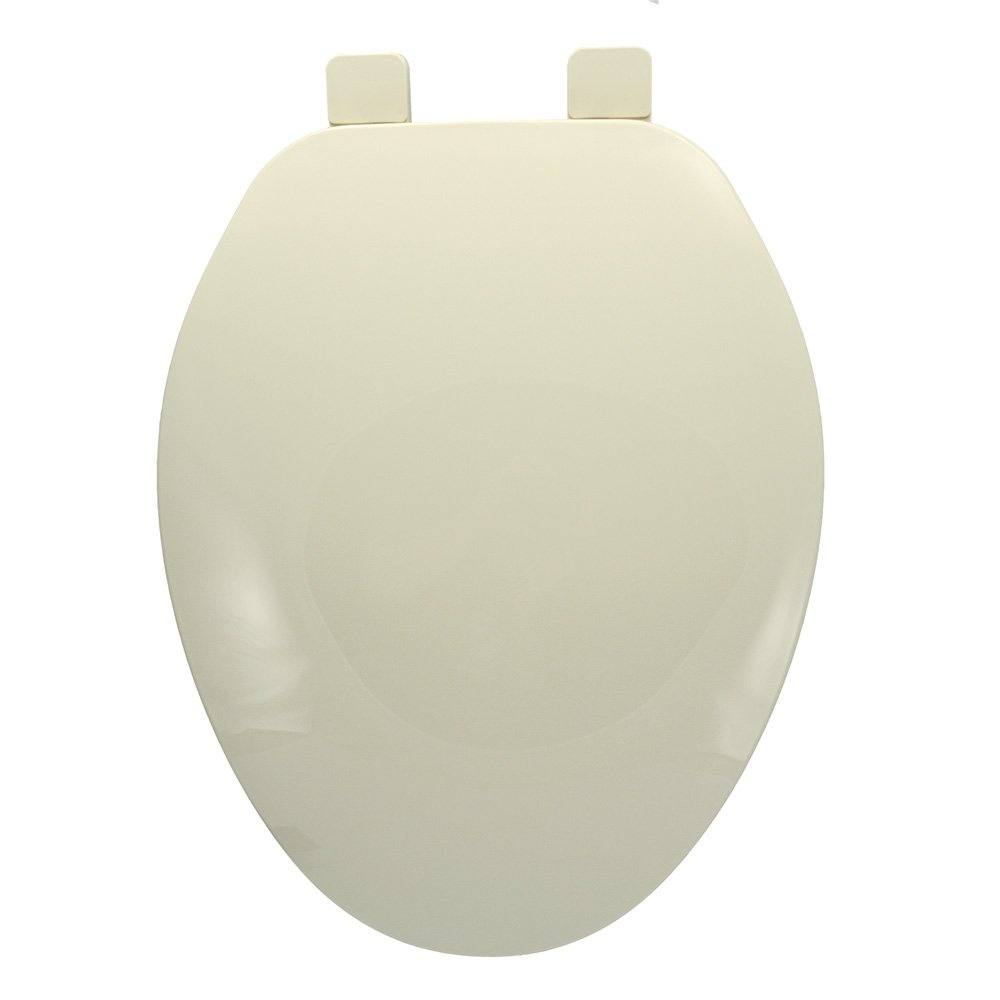 Builder Grade Plastic Toilet Seat, Bone, Elongated Closed Front with Cover