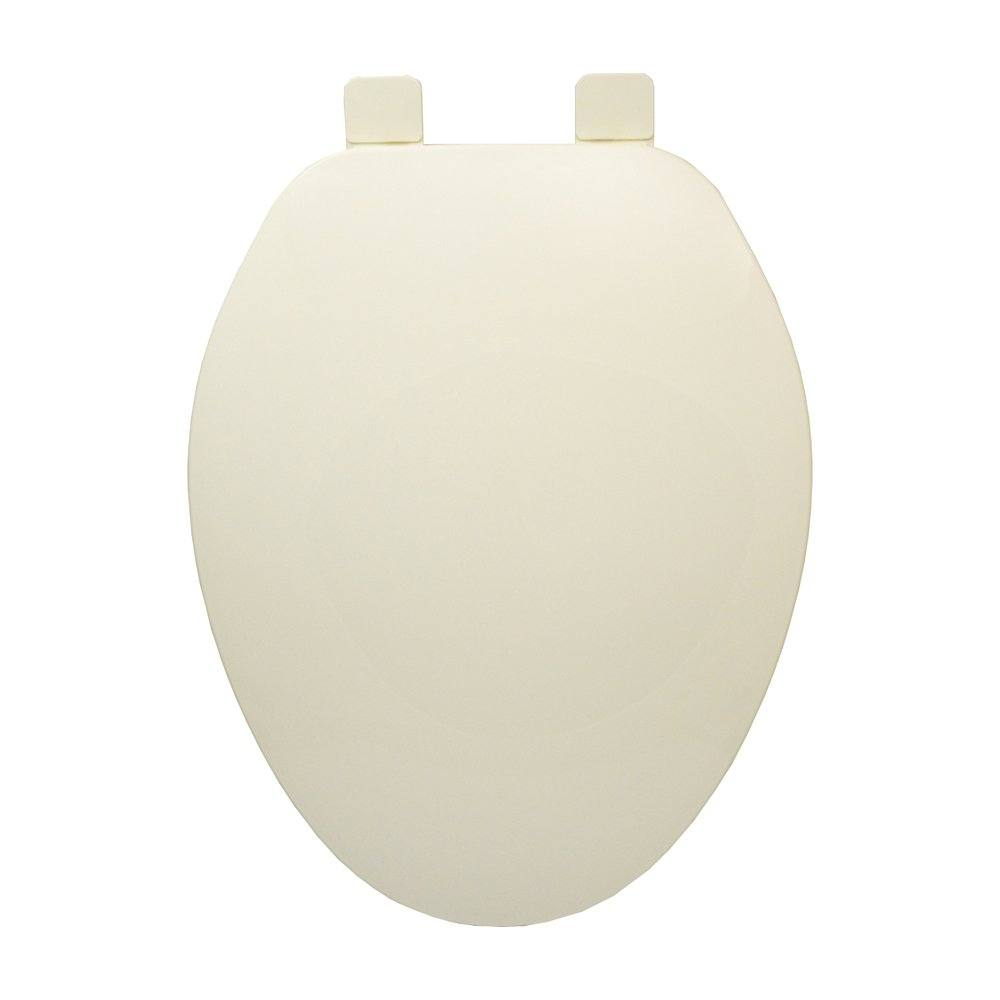 Builder Grade Plastic Toilet Seat, Biscuit, Elongated Closed Front with Cover
