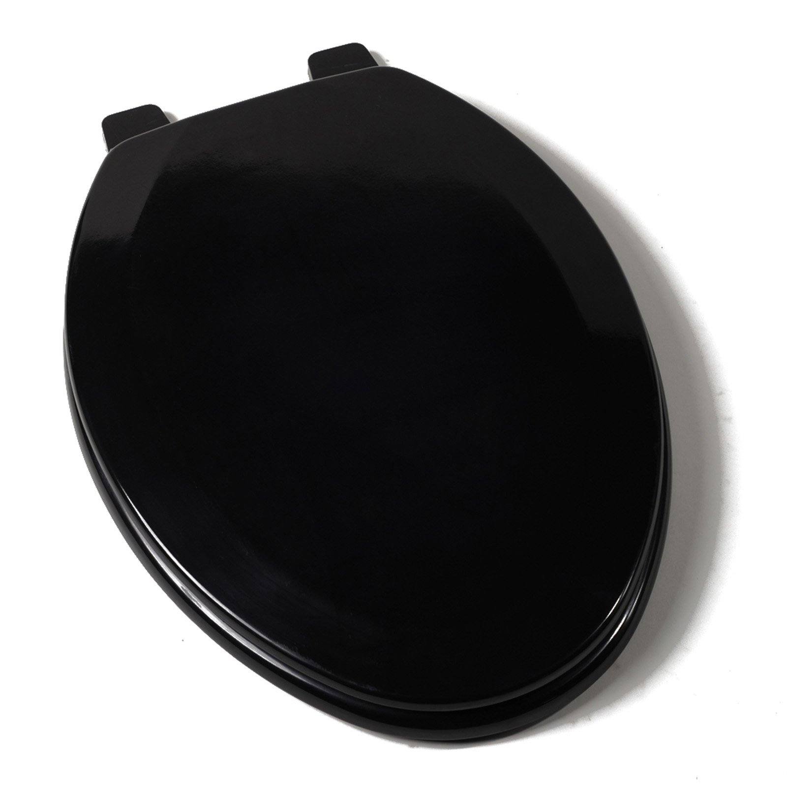 Stupendous Deluxe Molded Wood Toilet Seat Black Elongated Closed Front With Cover Machost Co Dining Chair Design Ideas Machostcouk