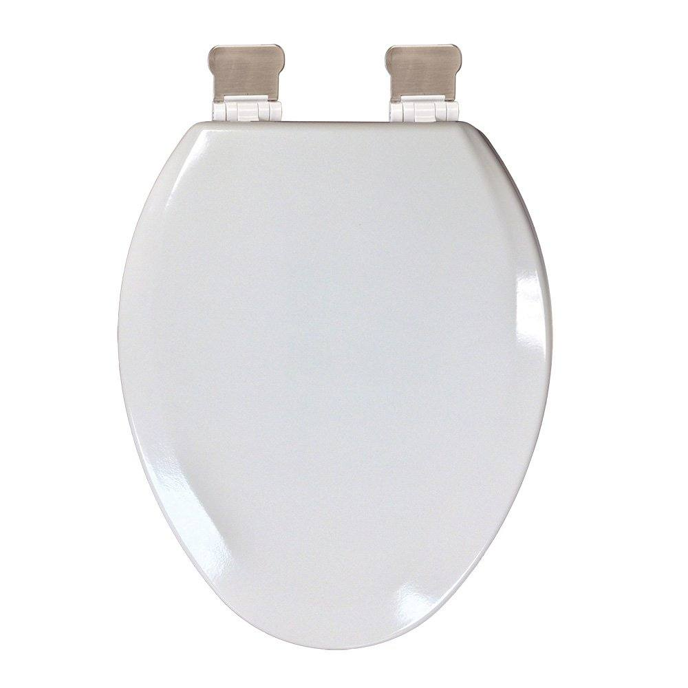 Outstanding Premium Molded Wood Toilet Seat White Elongated Closed Front With Cover Brushed Nickel Quicklean Hinge Creativecarmelina Interior Chair Design Creativecarmelinacom