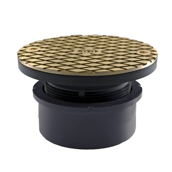 """4"""" PVC Hub Fit Base Cleanout with 3-1/2"""" Plastic Spud and 5"""" Nickel Bronze Cover"""