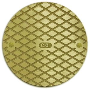 "6"" Polished Brass Round Cast Cleanout Cover"