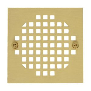 """4"""" Polished Brass Square Cast Coverall Strainer"""