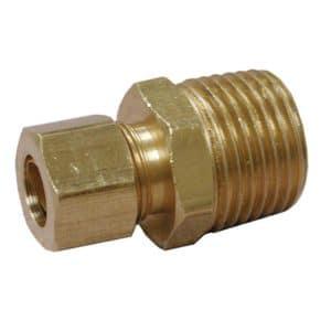 "3/8"" x 1/8"" Brass Compression x Male Connector, Lead Free"