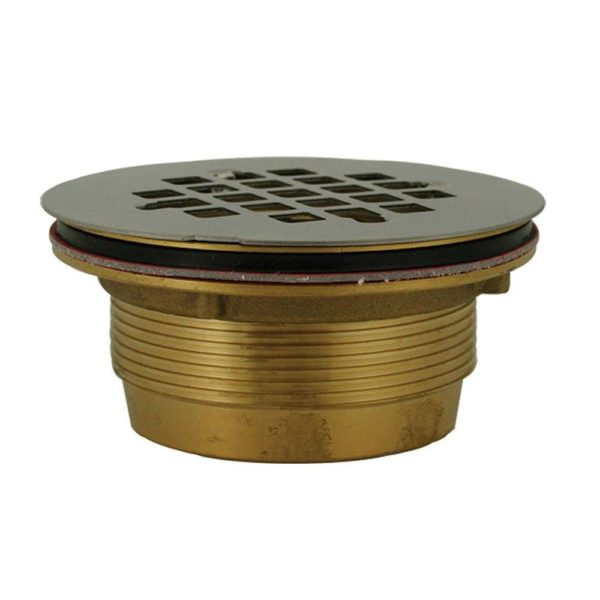 "2"" No Caulk Shower Stall Drain with Brass Body and Stainless Steel Strainer (140NC)"