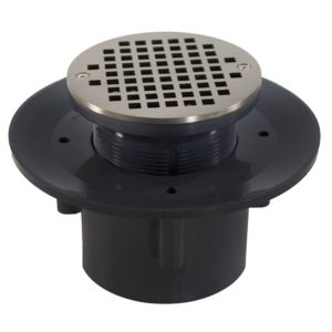 """2"""" x 3"""" Heavy Duty PVC Slab Drain Base with 3"""" Plastic Spud and 6"""" Nickel Bronze Strainer"""