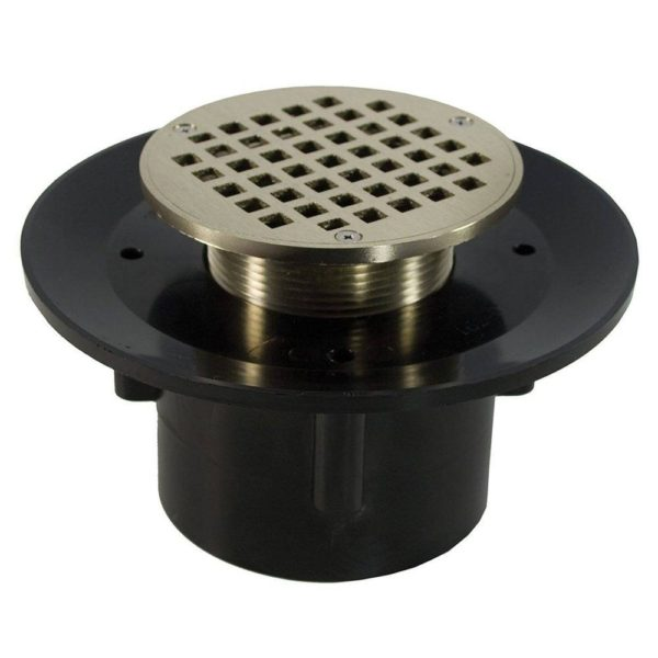"""2"""" x 3"""" Heavy Duty ABS Slab Drain Base with 3"""" Metal Spud and 5"""" Nickel Bronze Strainer"""