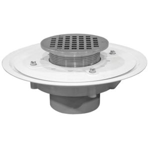 """2"""" Heavy Duty PVC Drain Base with 3-1/2"""" Metal Spud and 5"""" Polished Brass Strainer"""