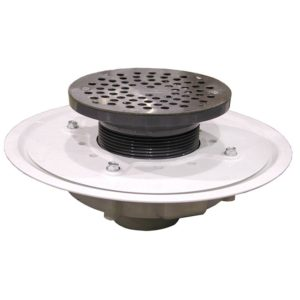 """2"""" Heavy Duty PVC Drain Base with 3-1/2"""" Plastic Spud and 6"""" Stainless Steel Strainer"""