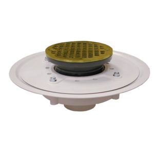 """2"""" Heavy Duty PVC Drain Base with 3-1/2"""" Plastic Spud and 6"""" Polished Brass Strainer"""