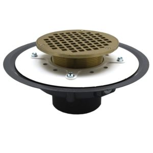 """3"""" Heavy Duty PVC Drain Base with 3-1/2"""" Metal Spud and 6"""" Nickel Bronze Strainer"""