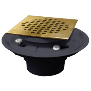 "4"" PVC Shower Drain/Floor Drain with Polished Brass Cast Square Strainer"