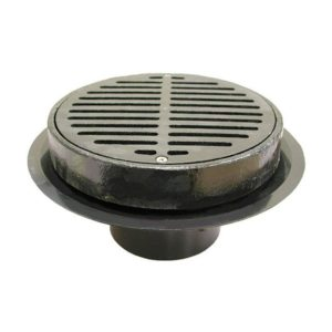 """2"""" Heavy Duty Traffic ABS Floor Drain with Full Cast Iron Grate and Ring and Cast Iron Sediment Bucket"""