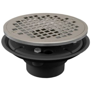 """2"""" x 3"""" PVC Shower Drain/Floor Drain with Brass Tailpiece and 6"""" Chrome Plated Round Strainer"""