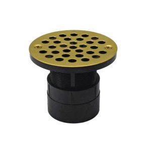 """2"""" ABS Over Pipe Fit Drain Base with 2"""" Plastic Spud and 4"""" Polished Brass Stamped Strainer"""