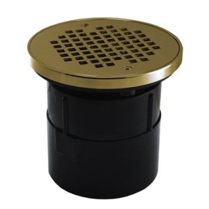 """2"""" ABS Over Pipe Fit Drain Base with 2"""" Plastic Spud and 4"""" Polished Brass Strainer with Ring"""