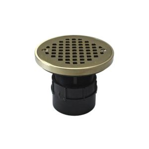 """2"""" ABS Over Pipe Fit Drain Base with 2"""" Plastic Spud and 4"""" Nickel Bronze Strainer with Ring"""