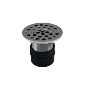 """2"""" ABS Over Pipe Fit Drain Base with 2"""" Metal Spud and 4"""" Stainless Steel Strainer"""
