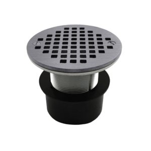 """2"""" ABS Over Pipe Fit Drain Base with 2"""" Metal Spud and 4"""" Chrome Plated Strainer"""