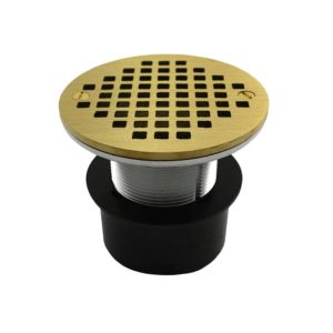 """2"""" ABS Over Pipe Fit Drain Base with 2"""" Metal Spud and 6"""" Polished Brass Strainer"""