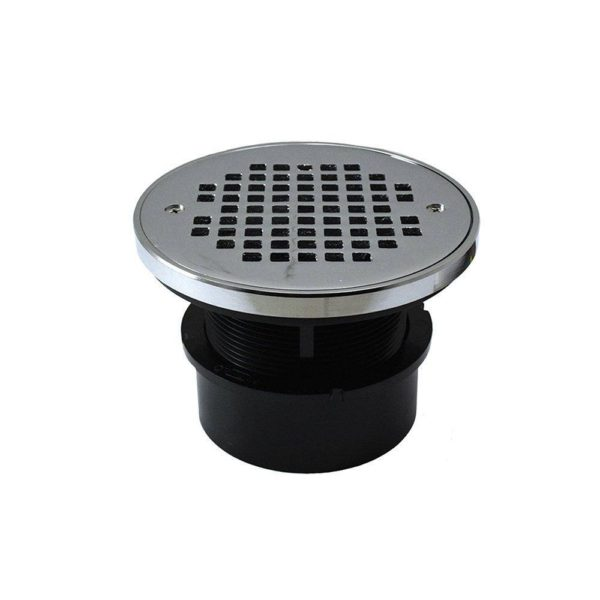 "4"" ABS Hub Fit Drain Base with 3-1/2"" Plastic Spud and 6"" Chrome Plated Strainer with Ring"