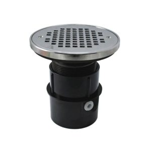 """2"""" ABS Over Pipe Fit Drain Base with 2"""" Plastic Spud and 4"""" Chrome Plated Strainer with Ring"""