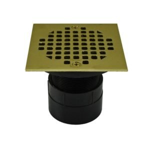 """2"""" ABS Over Pipe Fit Drain Base with 2"""" Plastic Spud and 4"""" Polished Brass Strainer"""