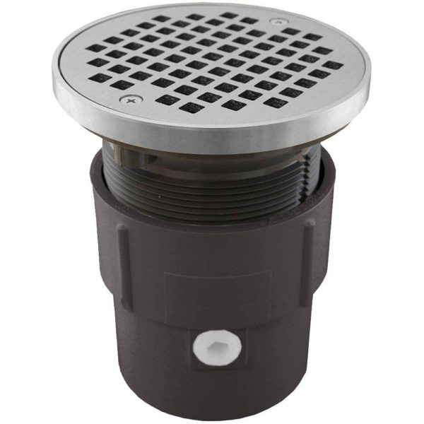 "3"" x 4"" PVC Pipe Fit Drain Base with 3-1/2"" Plastic Spud and 5"" Chrome Plated Strainer with Ring"