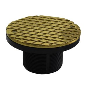 """2"""" ABS Cleanout Spud with 4"""" Polished Brass Cover"""