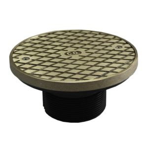 """2"""" ABS Cleanout Spud with 4"""" Polished Brass Cover with Ring"""