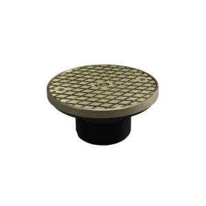 """2"""" ABS Cleanout Spud with 4"""" Nickel Bronze Cover with Ring"""